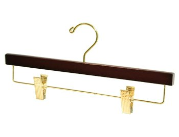 "14"" walnut finish bottom hanger with movable cushioned clips - Small Box of 20"