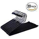 J&P Home Open Ended Slacks Stainless Steel Pants Hangers with Black Non-Slip Coating - 20 Pack