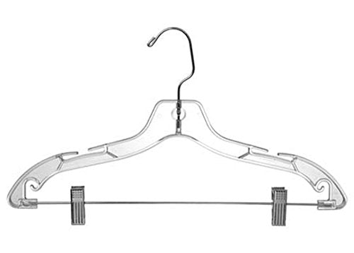 "Only Hangers Clear Plastic 17"" Suit Hanger (Box of 10)"