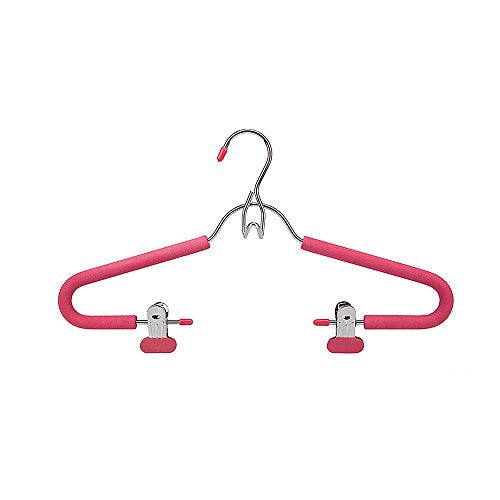 SANSHI Pink Stackable Pants Hangers Skirt Hanger With Adjustable Clips 3pcs