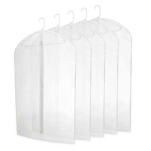 "Plixio 40"" Clear Plastic Hanging Garment Bags for Clothes Storage - Suits, Dresses & Clothing Bags - (5 Pack)"