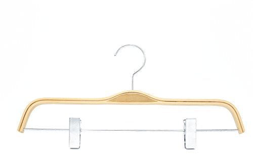 HIZHO Birch Wood Pant/Skirt Hangers - 360 Degree Swivel Chrome Hook - Lacquered Finish Super Sturdy and Durable Wooden Hangers - 10 Pack