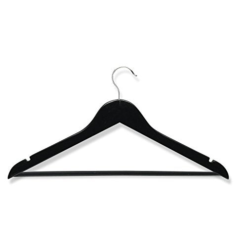 Honey-Can-Do HNG-01525 Wood Suit Hanger with Dress Notches, 4-Pack, Black