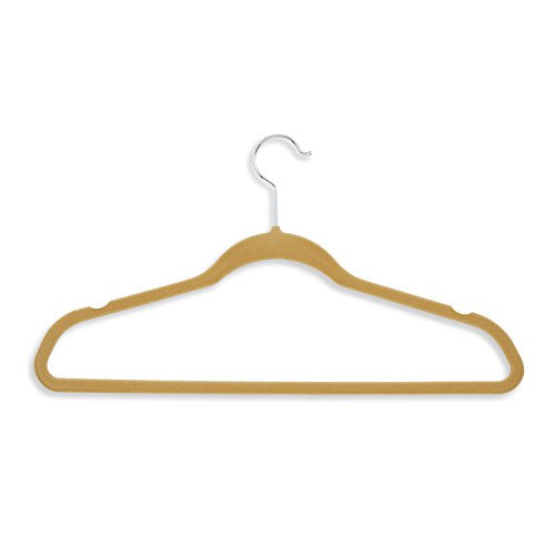 "Honey-Can-Do Velvet-Touch Suit Hangers, 9 1/2""H x 1/4""W x 17 3/4""D, Tan, Pack of 50"