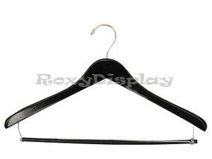 "(HA-800BK2_100Unit) Contoured 17"" Black Color Wooden Suit Hangers 100 Units"