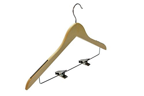 America Galindez Inc Hanger for Clothes. Maple Wood Shirt Hanger With Metal Clips. Anti-Slip. Solid premium hardwood. Natural Stain Finish. (24, 20Wx18Lx14)