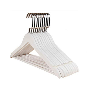 CGF-Drying Racks Hanger Wood Solid Pants Rack for Suit Skirt Jacket Size (45x24x1.2) cm A Pack of 10 White