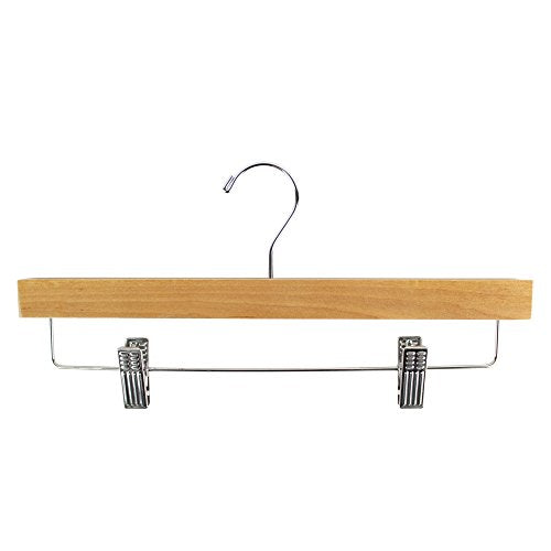 "14"" SKIRT/SLACK WOODEN HANGER - NATURAL (10 PACK) CHROME SWIVEL METALTAL HOOK, NATURAL COLOR WOOD FINISH."