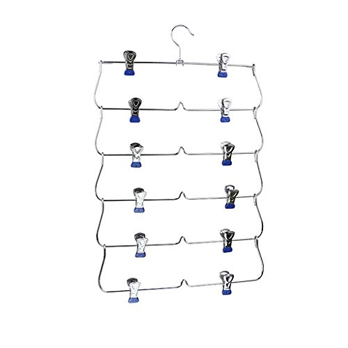 6 Tier Skirt Hangers Pants Hangers Closet Organizer Metal Fold up Space Saving Hangers, 3 Colors to Choose - Blue, 34.5x58cm