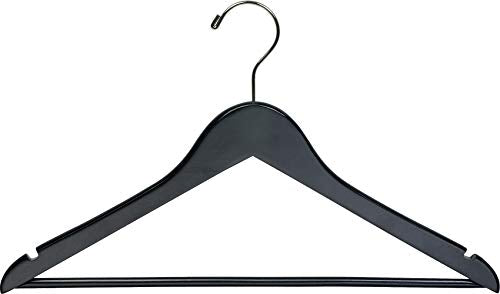 Black Wooden Suit Hangers with Solid Wood Bar, Box of 24 Space Saving Flat 17 Inch Hanger with Chrome Swivel Hook & Notches for Hanging Straps by The Great American Hanger Company