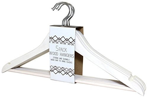Signature Home Wood Clothes Hangers with Pant Bar, 5 Pack, White Wash