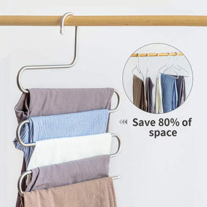 Heavy-Duty S Type Clothes Pants Hangers 5 Layer S-Shape Stainless Steel Hangers with Clips,Space Saving Hanger for Pants, Trousers, Jeans, Scarves, Hanging Accessories, Towels (1 Pack)