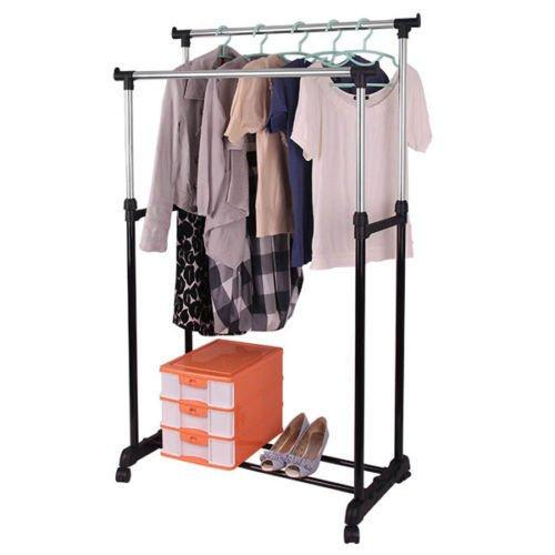 Generic YH-US3-160606-45 8yh3678yh NT RACK BLACK CLOTHES HANGER NGER ROLLIN DOUBLE HEAVY DUTY DOUBLE HE ROLLING GARMENT LE PORTAB ADJUSTABLE PORTABLE DUTY ADJ RACK BLACK