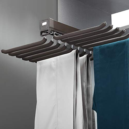 FKhanger Hanging Pull-Out Trousers Rack, Pants Holder Damping Rail, Tie Rack Wardrobe (18 Pairs) (Color : Brown)