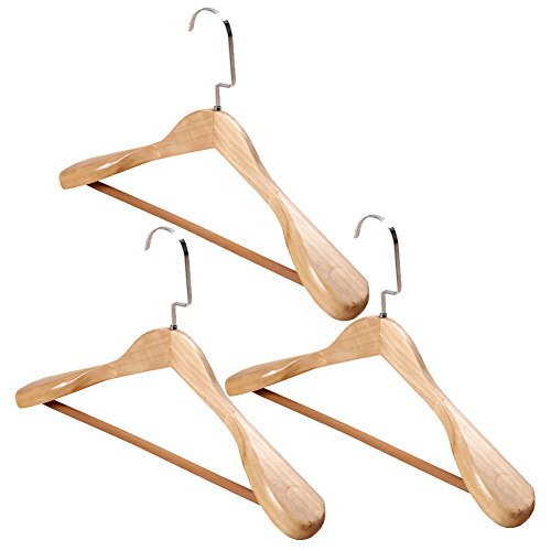 Ibnotuiy 3Pcs Womens Heavy Duty Extra Wide Wooden Clothes Hangers Suit Hangers with Inlaid Pants Bar (Primary Color)