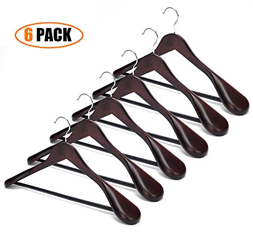 EAZONE Solid Wooden Extra-Wide Shoulder Suit Coat Hangers Wooden Coat Hangers with Non Slip Pants Bar and 360 Swivel Hook Retro Finish, 6-Pack