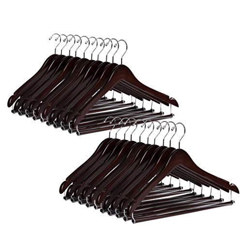 Quality Hangers Wooden Hangers Beautiful Sturdy Suit Coat Hangers with Locking Bar Chrome Hooks (20)