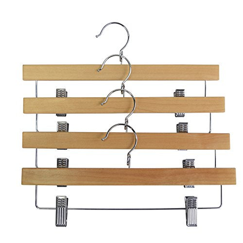 Proman Products Kascade Wooden Straight Hanger with Clips, Natural, 50 pcs / box