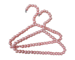 "Fully 2pcs/set 7.87x6.69"" Baby Kids Wardrobe Beads Pearls Coat Pants Hanger Pet Puppy Dog Clothes Hangers"