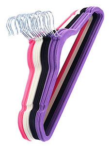 Daisy Days Non Slip Velvet Hangers for Clothes Suit Shirt Pants 100PCS White, Black, Purple,Red