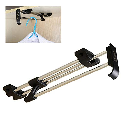ZJchao Heavy Duty Retractable Closet Pull Out Rod Wardrobe Clothes Hanger Rail Towel Ideal for Closet Organizer Polished Chrome (30cm/ 11.8 Inches)