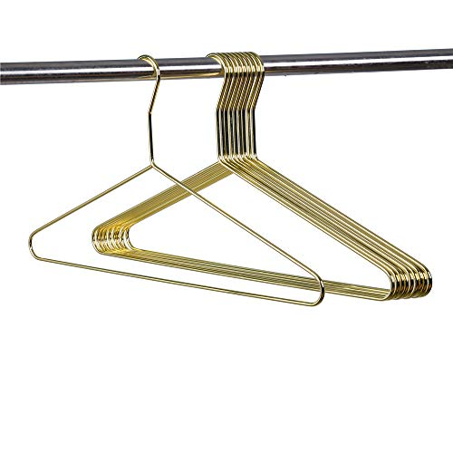 Quality Gold Modern Heavy Duty Metal Hangers – Clothing Thin Compact Hanger – Coated Metal Hangers for Wardrobe – Shirt Pants Slim Hanger - 10 Pack