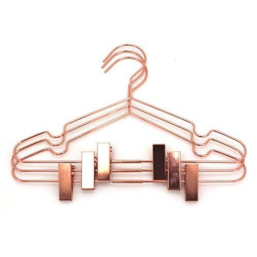 "Koobay 12.5"" Rose Copper Gold Shiny Steel Wire Coat Clothes Garment Hangers with Pants Bar Fit Closet Hangers (10)"