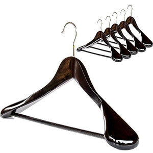 Clutter Mate - Set of 6 - Premium Finished Wooden Suit Hangers, Dark Walnut Solid Wood Hangers with Wood-Grain, Wide Shoulder Heavy Clothes Hanger for Suits, Jacket, Non Slip Pants, Swivel Hook