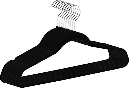 ZOYER Premium Quality Velvet Hangers (50 Pack) Space Saving and Heavy Duty Non-Slip Clothes Hangers - 360 Degree Rotatable Chrome Swivel Hook - Strong and Durable Suit Hangers, Black
