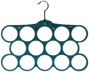 Kenton Grey Adults Size, Premium Heavyweight Velvet Scarf/Accessory Hangers – Ultra-Thin, Space Saving, No-Slip, Strong & Durable - Set of 2, 14 Hole, Teal