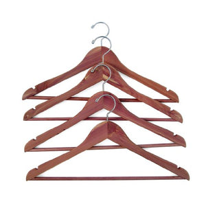 Household Essentials 26140 CedarFresh Red Cedar Wood Clothes Hangers with Fixed Bar and Swivel Hook - Set of 4