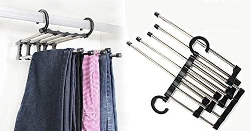 2X 5-in-1 Space Saver Pants Hanger PLUS FREE GIFT CELL PHONE ANTI-DUST PLUG