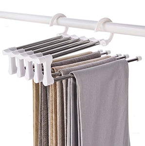 YUNAI Stainless Steel Pants Hangers Jeans Clothes Organizer Folding Storage Rack Space Saver Storage Rack for Hanging