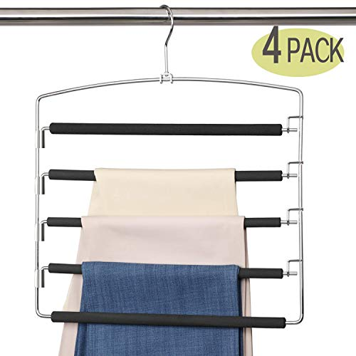Meetu Pants Hangers 5 Layers Stainless Steel Non-Slip Foam Padded Swing Arm Space Saving Clothes Slack Hangers Closet Storage Organizer for Pants Jeans Trousers Skirts Scarf Ties Towels (4 Pack)
