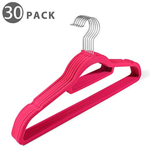 Flexzion Velvet Hanger 30 Pack - Non Slip Dress Hanger with Accessory Bar Space Saving, Strong and Durable with 360 Degree Swivel Hook, Contoured Shoulder for Shirts Clothes Coat Suit Pants (Pink)