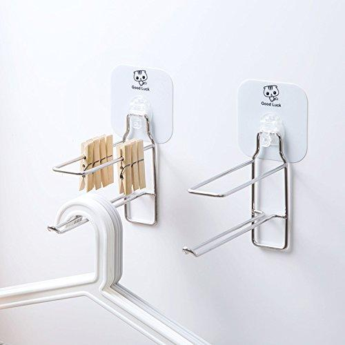 Indoor/Outdoor Hanger Holder Wall Mounted Stainless Steel Clothes Hanger Stacker Home Storage Organizer Space Saving, Sticky Wall, No Need Nails (1)