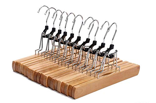 Fmissyao [10 Pack Wooden Collection Slack Hanger, Wood Skirt Hangers, with Felt Lining, Non-Slip, Full-Width Gripping Grooves, Stainless Steel 360° Rotating Hook