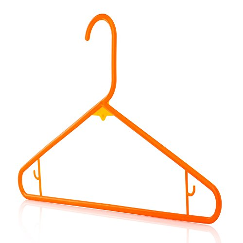 HANGERWORLD 10 Orange 16inch Plastic All Purpose Coat Clothes Garment Pant Skirt Bar Hangers Loop Hooks
