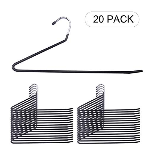 NUOKING Open Ended Hangers,Pants Hangers,Slacks Hanger,Anti-Rust Chrome Metal with Non-Slip Coating,Trousers Hangers,Space Saving Hangers(20 Pack,Black)