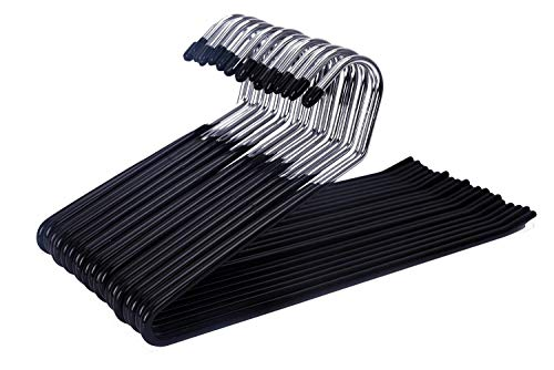 JS HANGER 20 Pack Open Ended Slacks Pant Hangers, Chrome and Black Friction, Non-Slip