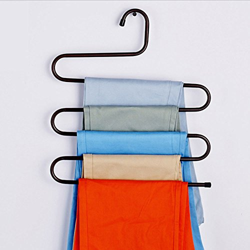 Daycount 5 Layers Metal Pant Slack Hangers Storage, Space Saver Rack S-Type Closet for Clothes Pants Clothes Scarf Tie (Copper)