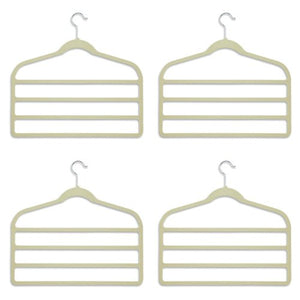 hanger for pants Bar Pant Hangers - 4 Pack - space saving (Cream)