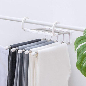 ISUE (Set of 2pcs 5 in 1 Portable Stainless Steel Clothes Pants Hangers Closet Storage Organizer for Pants Jeans Hanging 13.38 x 7.2in