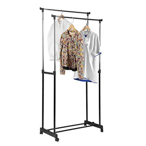 Genuine store Garment Racks, Double Rail Adjustable Rolling Clothing Laundry Rack - Heavy Duty Clothes Hangers with Wheels - Easy to Assemble
