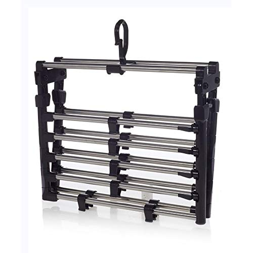 OrganizeME Foldable 10 Rack Expandable Clothes Drying Rack Laundry Rack | Garment Cloth Rack - Black