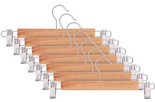 ZOYER Wooden Skirt Hangers with Adjustable Clips (10 Pack) Pant Hangers with 2-Adjustable Anti-Rust Clips Natural Finish