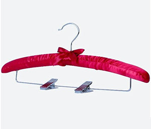 Kexinfan Hanger Colorful Satin Padded Hangers With Metal Clips For Pants And Skirts (10 Pieces/Lot),Red