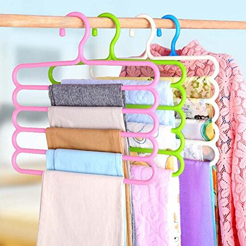 Homieco trade; Multi-Purpose Five-layer Pants Hanger Holder Tie Rack for Clothes Hanger Organizer Travel Closet Sliding Pants Hanging Space Saver