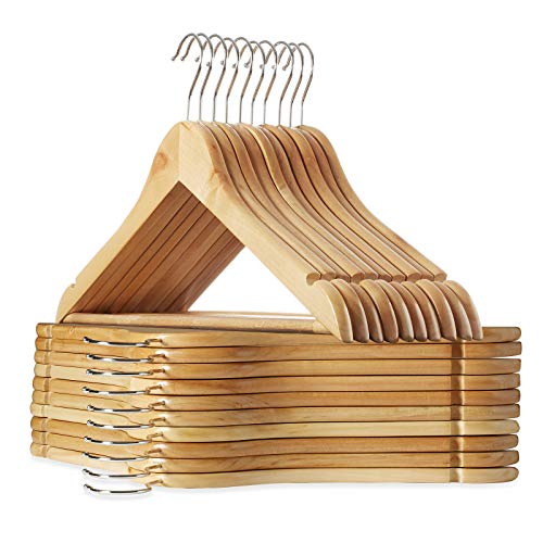 Casafield - 20 Natural Wooden Suit Hangers - Premium Lotus Wood with Notches & Chrome Swivel Hook for Dress Clothes, Coats, Jackets, Pants, Shirts, Skirts