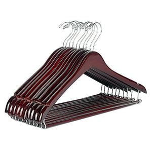 LOHAS Home 12-Pack Curved Wooden Suit Hangers Beautiful Sturdy Coat Hangers with Locking Bar, Walnut Finish